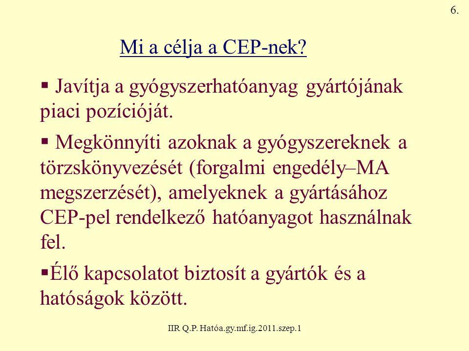 IIR Q.P. Hatóa.gy.mf.ig.2011.szep.1 Mi a célja a CEP-nek?  Javítja a gyógyszerhatóanyag gyártójának piaci pozícióját.  Megkönnyíti azoknak a gyógysz