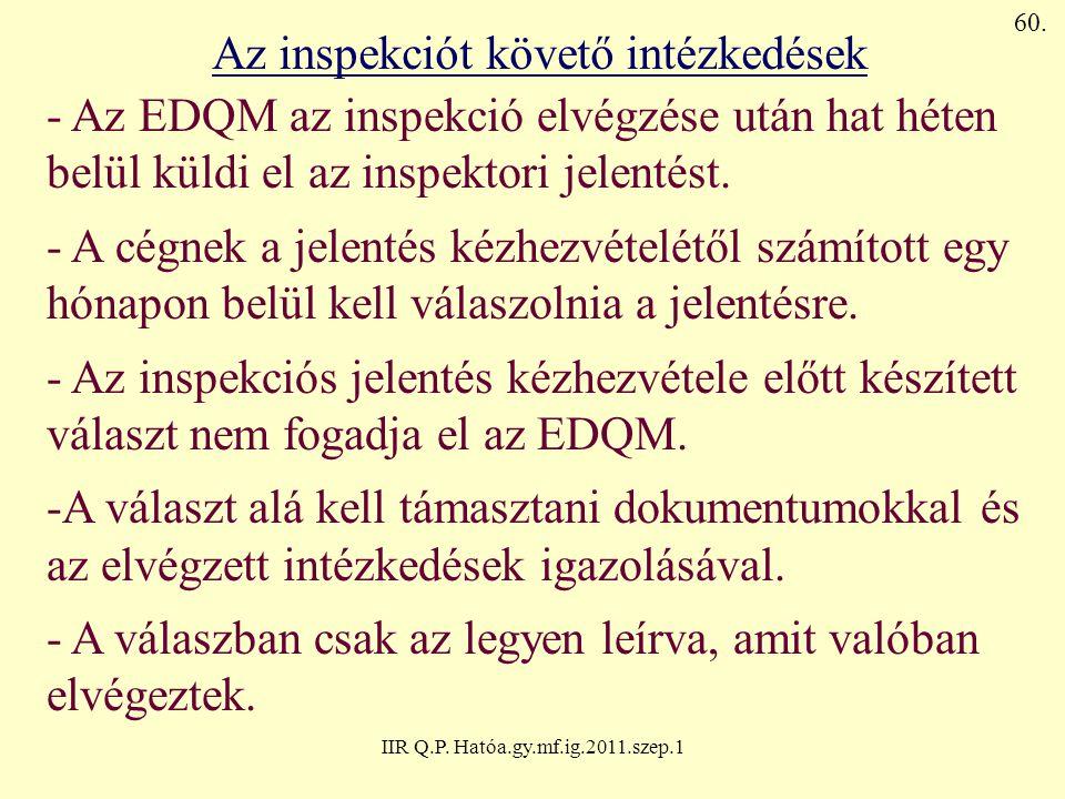 IIR Q.P. Hatóa.gy.mf.ig.2011.szep.1 Az inspekciót követő intézkedések - Az EDQM az inspekció elvégzése után hat héten belül küldi el az inspektori jel