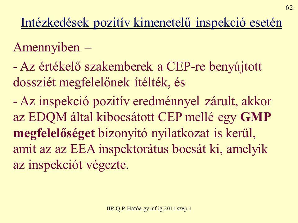 IIR Q.P. Hatóa.gy.mf.ig.2011.szep.1 Intézkedések pozitív kimenetelű inspekció esetén Amennyiben – - Az értékelő szakemberek a CEP-re benyújtott dosszi