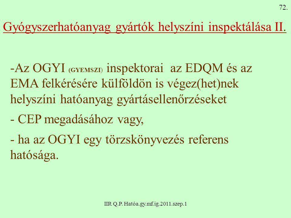 IIR Q.P. Hatóa.gy.mf.ig.2011.szep.1 Gyógyszerhatóanyag gyártók helyszíni inspektálása II. -Az OGYI (GYEMSZI) inspektorai az EDQM és az EMA felkérésére