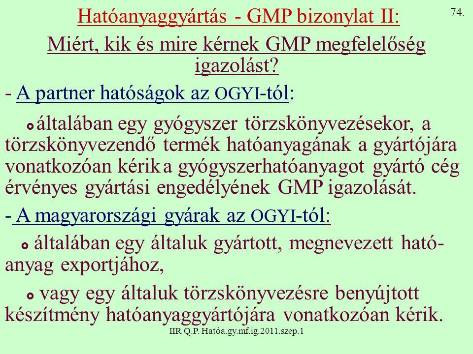 IIR Q.P. Hatóa.gy.mf.ig.2011.szep.1 Hatóanyaggyártás - GMP bizonylat II: Miért, kik és mire kérnek GMP megfelelőség igazolást? - A partner hatóságok a
