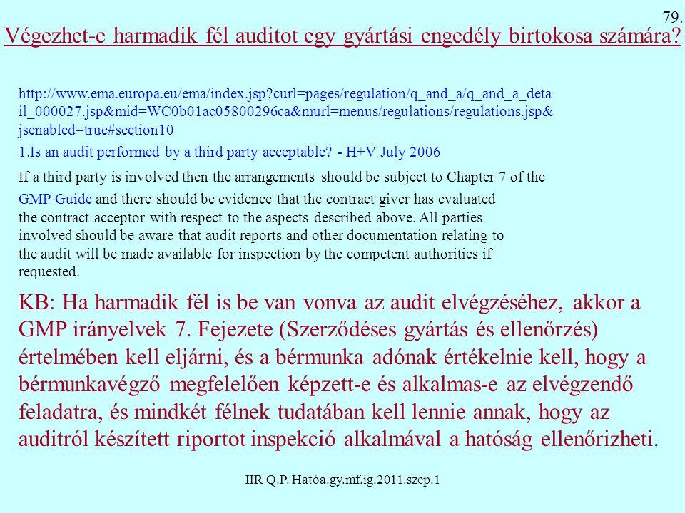 IIR Q.P. Hatóa.gy.mf.ig.2011.szep.1 Végezhet-e harmadik fél auditot egy gyártási engedély birtokosa számára? http://www.ema.europa.eu/ema/index.jsp?cu