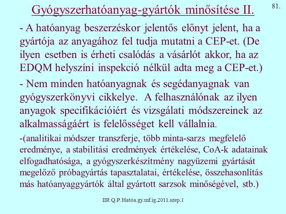 IIR Q.P. Hatóa.gy.mf.ig.2011.szep.1 - A hatóanyag beszerzéskor jelentős előnyt jelent, ha a gyártója az anyagához fel tudja mutatni a CEP-et. (De ilye