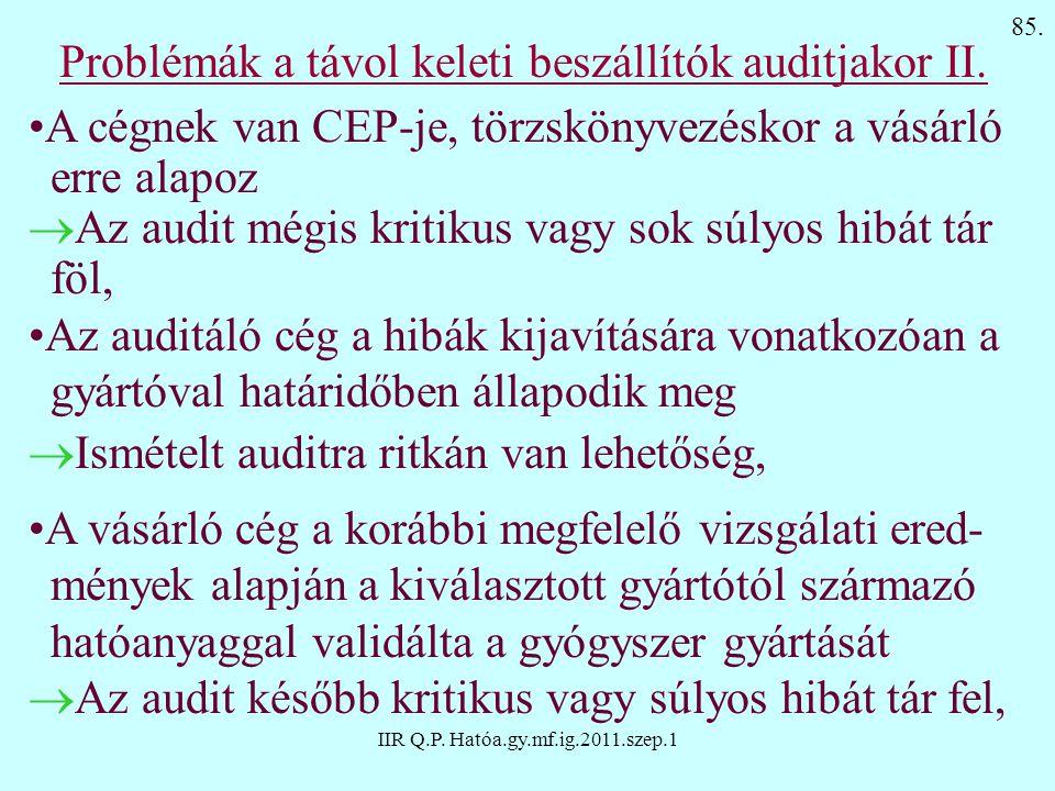 IIR Q.P. Hatóa.gy.mf.ig.2011.szep.1 Problémák a távol keleti beszállítók auditjakor II. A cégnek van CEP-je, törzskönyvezéskor a vásárló erre alapoz 