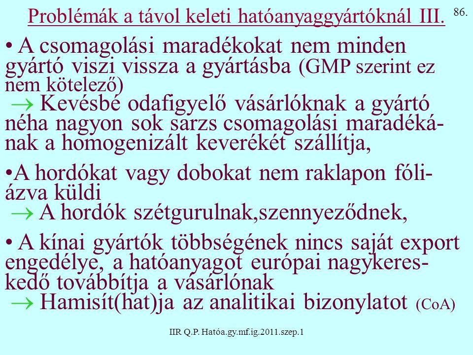 IIR Q.P. Hatóa.gy.mf.ig.2011.szep.1 Problémák a távol keleti hatóanyaggyártóknál III. A csomagolási maradékokat nem minden gyártó viszi vissza a gyárt