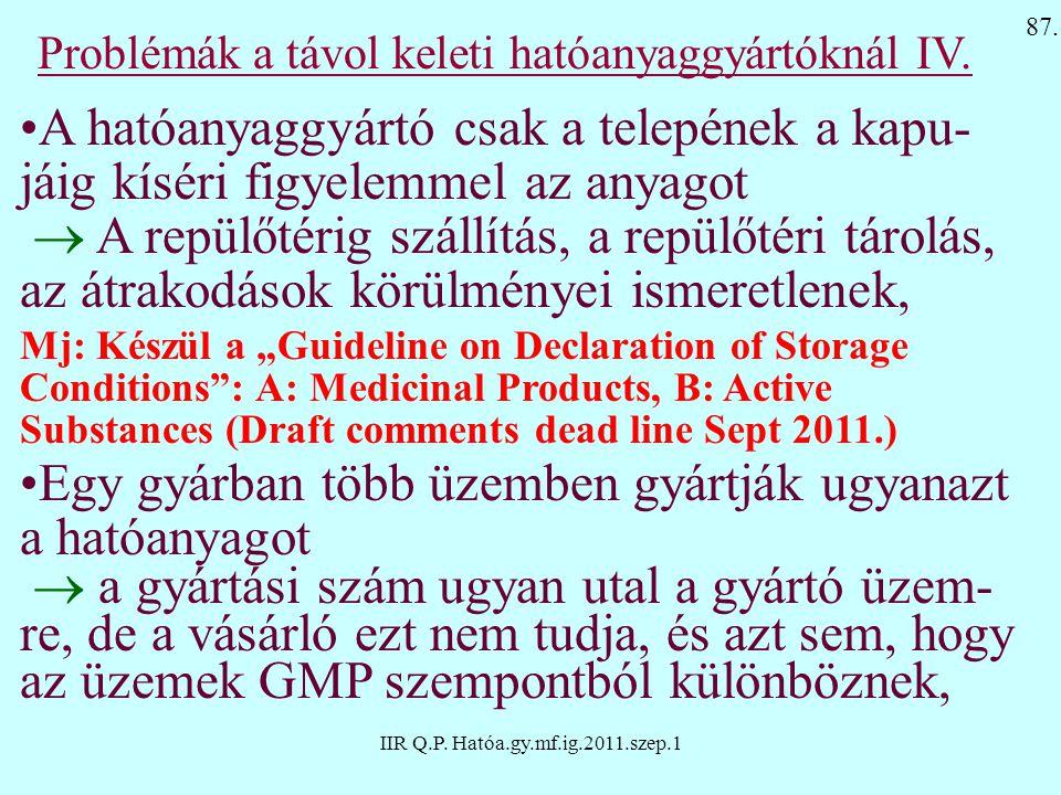 IIR Q.P. Hatóa.gy.mf.ig.2011.szep.1 Problémák a távol keleti hatóanyaggyártóknál IV. A hatóanyaggyártó csak a telepének a kapu- jáig kíséri figyelemme