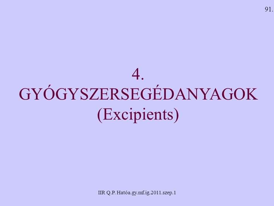IIR Q.P. Hatóa.gy.mf.ig.2011.szep.1 4. GYÓGYSZERSEGÉDANYAGOK (Excipients) 91.