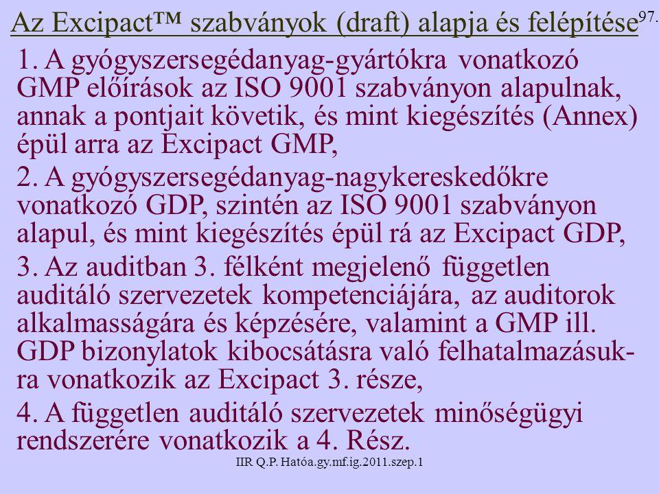 IIR Q.P. Hatóa.gy.mf.ig.2011.szep.1 Az Excipact™ szabványok (draft) alapja és felépítése 1. A gyógyszersegédanyag-gyártókra vonatkozó GMP előírások az