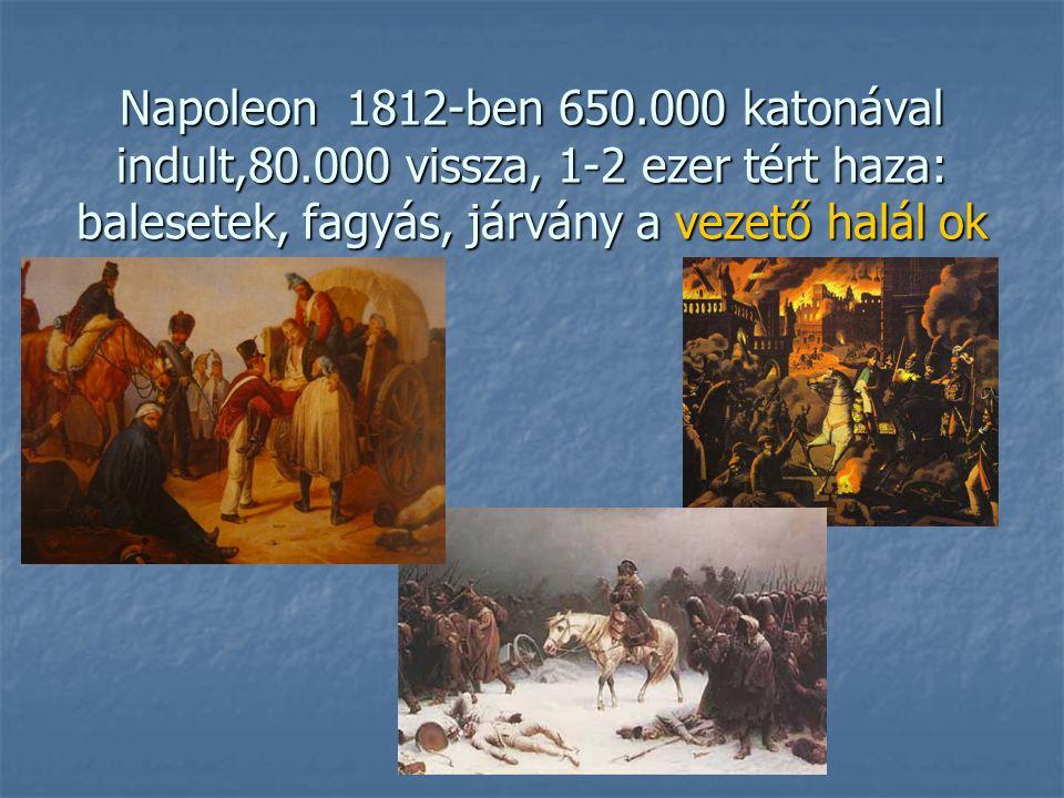 Napoleon 1812-ben 650.000 katonával indult,80.000 vissza, 1-2 ezer tért haza: balesetek, fagyás, járvány a vezető halál ok