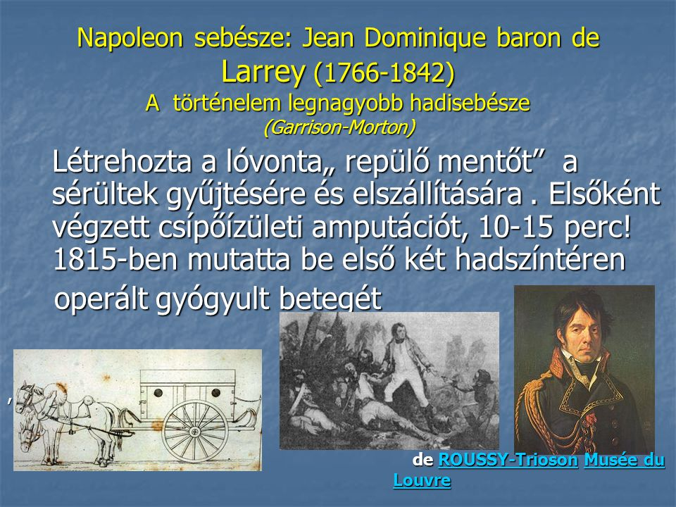 """Napoleon sebésze: Jean Dominique baron de Larrey (1766-1842) A történelem legnagyobb hadisebésze (Garrison-Morton) Létrehozta a lóvonta"""" repülő mentőt a sérültek gyűjtésére és elszállítására."""