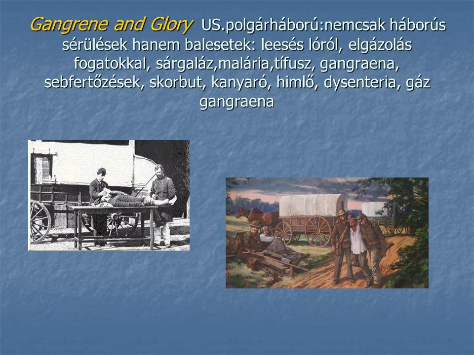 Gangrene and Glory US.polgárháború:nemcsak háborús sérülések hanem balesetek: leesés lóról, elgázolás fogatokkal, sárgaláz,malária,tífusz, gangraena, sebfertőzések, skorbut, kanyaró, himlő, dysenteria, gáz gangraena