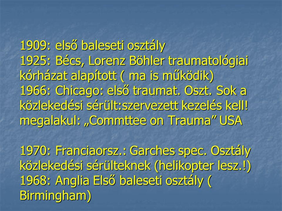 1909: első baleseti osztály 1925: Bécs, Lorenz Böhler traumatológiai kórházat alapított ( ma is működik) 1966: Chicago: első traumat.