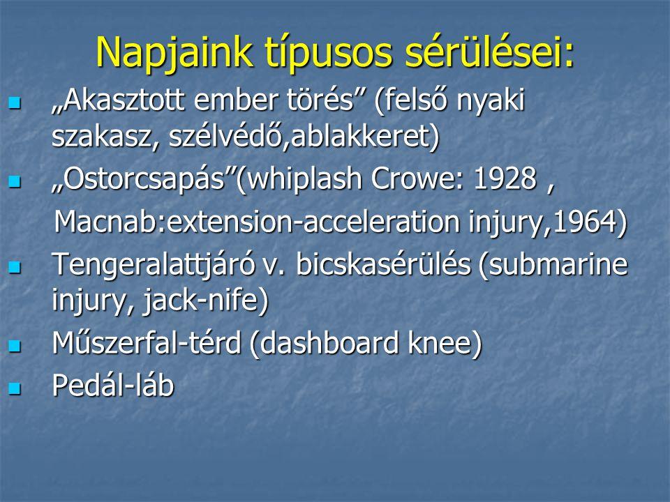 """Napjaink típusos sérülései: """"Akasztott ember törés (felső nyaki szakasz, szélvédő,ablakkeret) """"Akasztott ember törés (felső nyaki szakasz, szélvédő,ablakkeret) """"Ostorcsapás (whiplash Crowe: 1928, """"Ostorcsapás (whiplash Crowe: 1928, Macnab:extension-acceleration injury,1964) Macnab:extension-acceleration injury,1964) Tengeralattjáró v."""