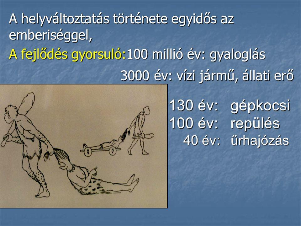 A helyváltoztatás története egyidős az emberiséggel, A fejlődés gyorsuló:100 millió év: gyaloglás 130 év: gépkocsi 130 év: gépkocsi 100 év: repülés 100 év: repülés 40 év: űrhajózás 40 év: űrhajózás 3000 év: vízi jármű, állati erő 3000 év: vízi jármű, állati erő
