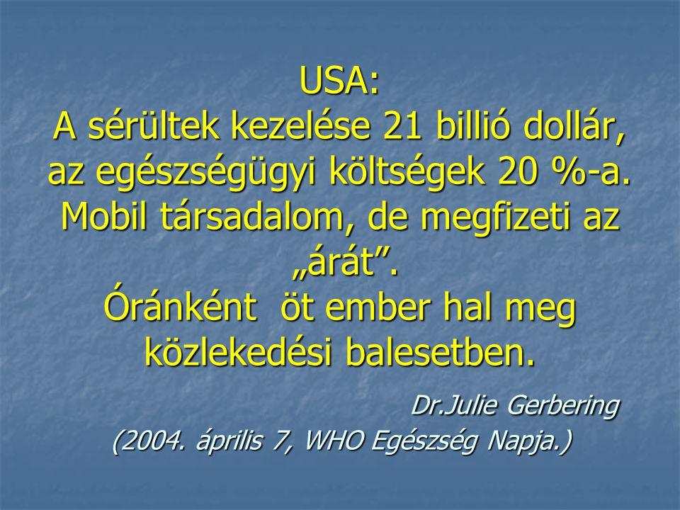 USA: A sérültek kezelése 21 billió dollár, az egészségügyi költségek 20 %-a.
