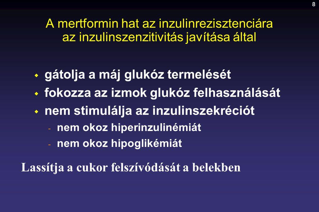 19 A glitazonok alkalmazása  Elsősorban metforminnal, másodsorban szulfanilureával, ill.