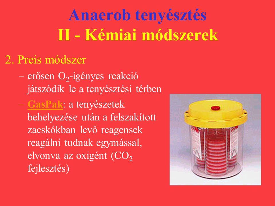 Anaerob tenyésztés II - Kémiai módszerek 2. Preis módszer –erősen O 2 -igényes reakció játszódik le a tenyésztési térben –GasPak: a tenyészetek behely