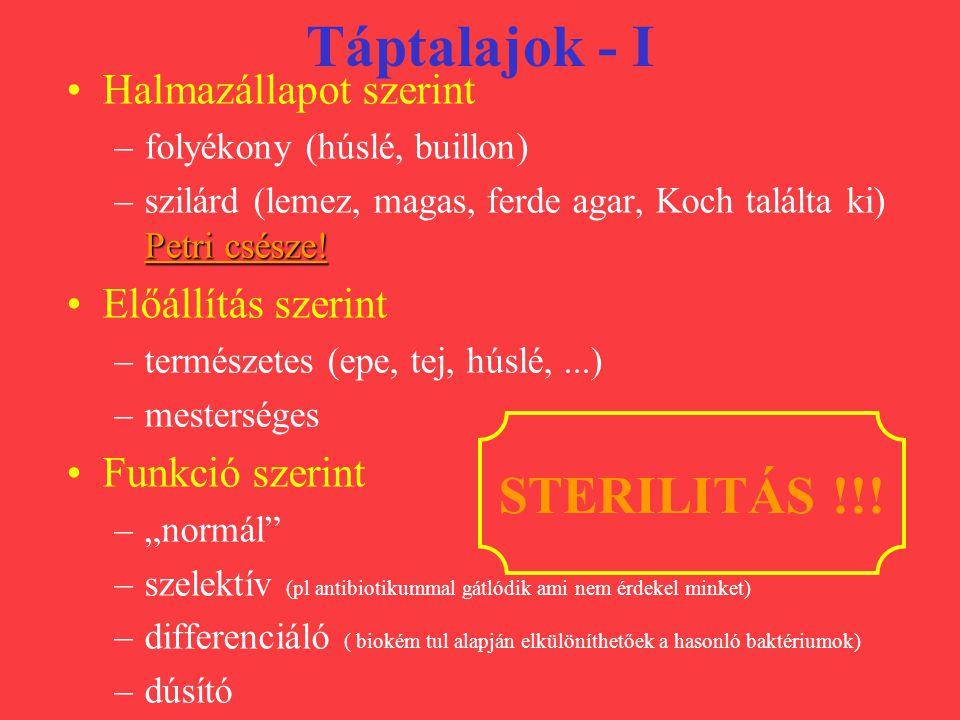 Táptalajok - II Bouillon Ferde és magas agar Dúsítók: húsos és szérum bouillon