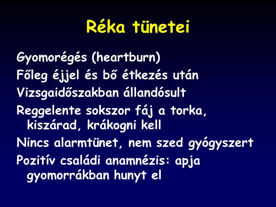 Réka tünetei Gyomorégés (heartburn) Főleg éjjel és bő étkezés után Vizsgaidőszakban állandósult Reggelente sokszor fáj a torka, kiszárad, krákogni kell Nincs alarmtünet, nem szed gyógyszert Pozitív családi anamnézis: apja gyomorrákban hunyt el