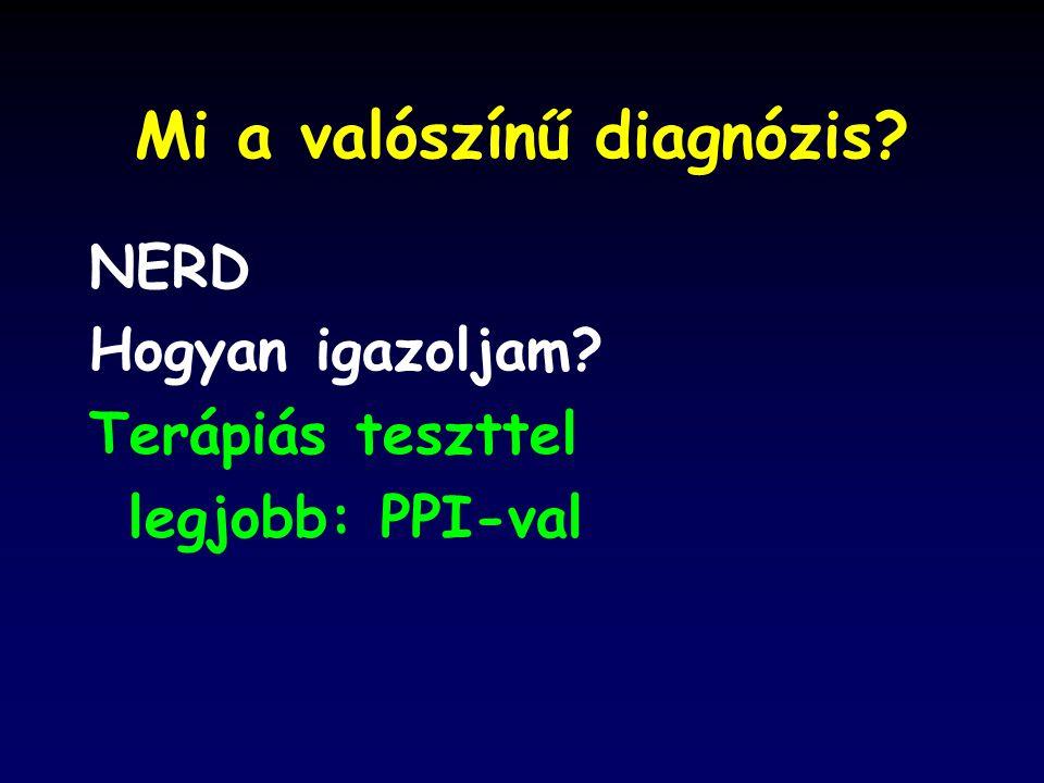 Mi a valószínű diagnózis? NERD Hogyan igazoljam? Terápiás teszttel legjobb: PPI-val