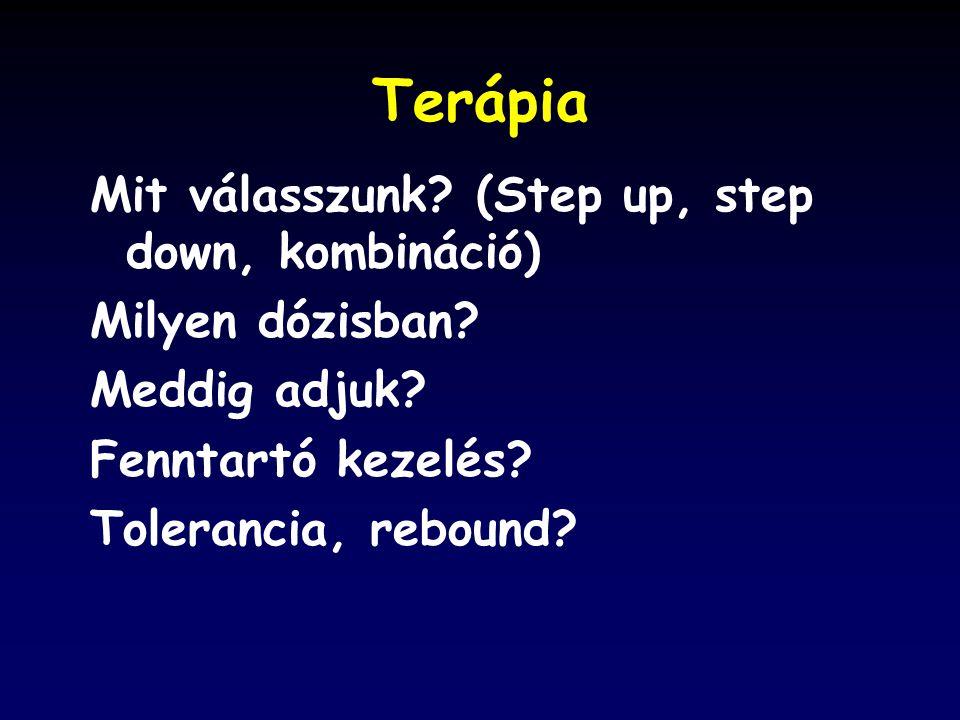 Terápia Mit válasszunk.(Step up, step down, kombináció) Milyen dózisban.