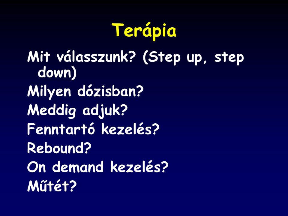 Terápia Mit válasszunk.(Step up, step down) Milyen dózisban.