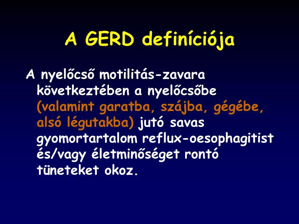 A GERD definíciója A nyelőcső motilitás-zavara következtében a nyelőcsőbe (valamint garatba, szájba, gégébe, alsó légutakba) jutó savas gyomortartalom reflux-oesophagitist és/vagy életminőséget rontó tüneteket okoz.