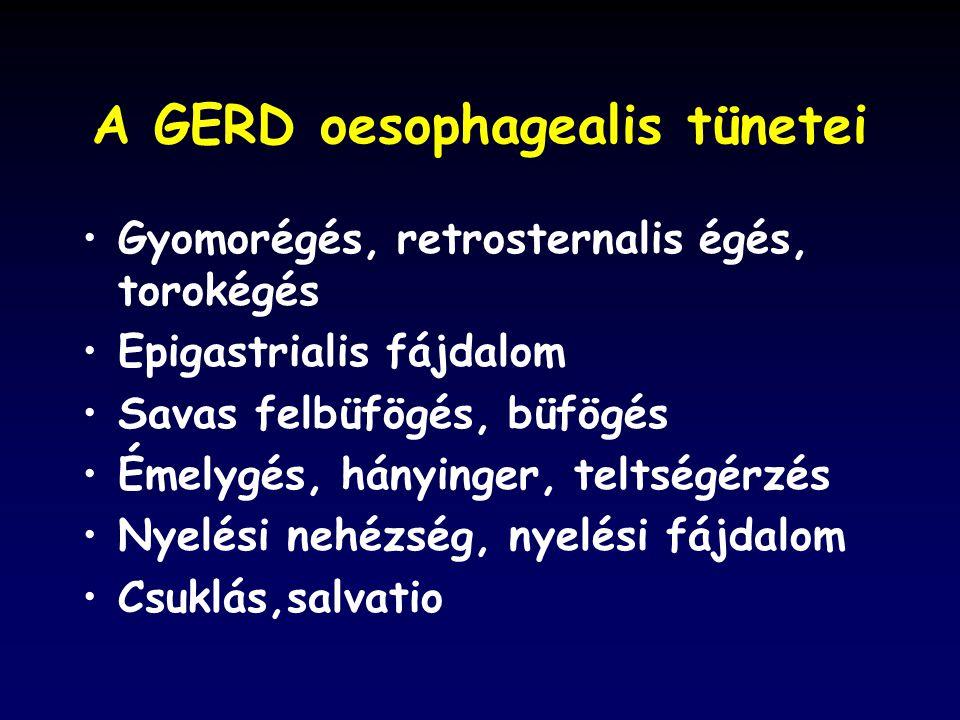 A GERD oesophagealis tünetei Gyomorégés, retrosternalis égés, torokégés Epigastrialis fájdalom Savas felbüfögés, büfögés Émelygés, hányinger, teltségérzés Nyelési nehézség, nyelési fájdalom Csuklás,salvatio