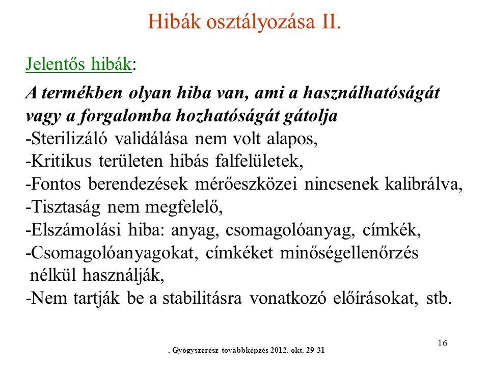 16 Hibák osztályozása II.. Gyógyszerész továbbképzés 2012. okt. 29-31 Jelentős hibák: A termékben olyan hiba van, ami a használhatóságát vagy a forgal