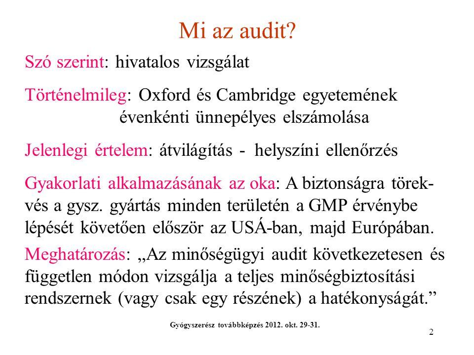 2 Mi az audit? Gyógyszerész továbbképzés 2012. okt. 29-31. Szó szerint: hivatalos vizsgálat Történelmileg: Oxford és Cambridge egyetemének évenkénti ü