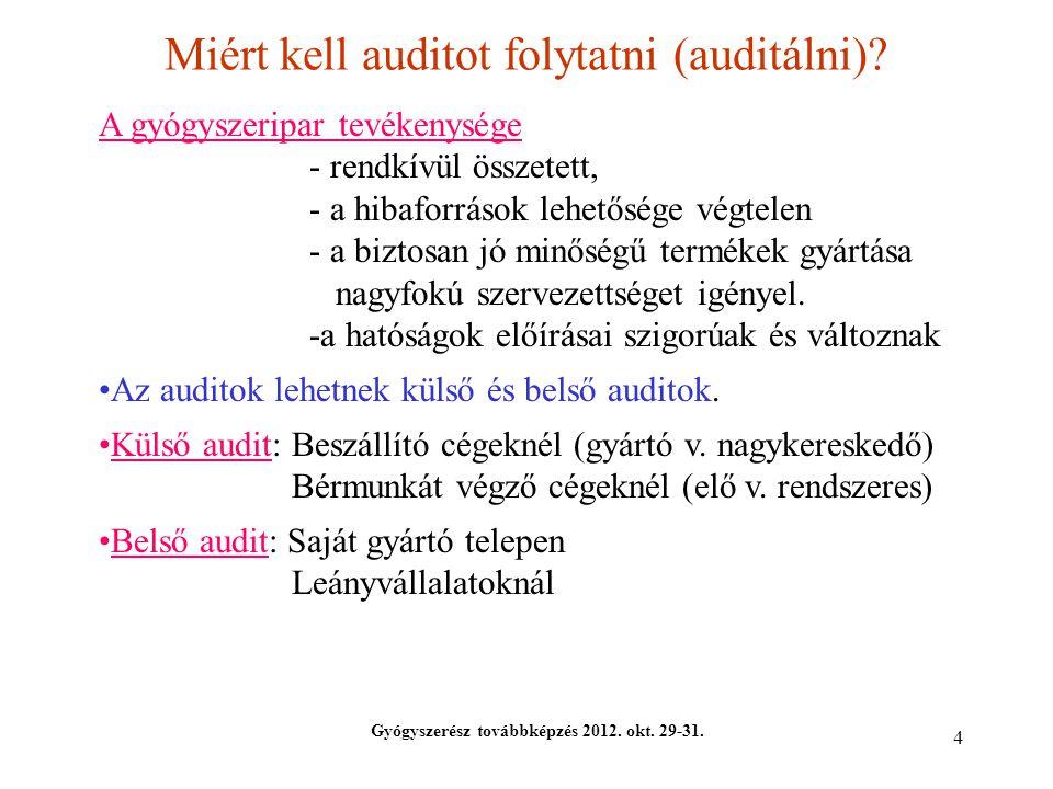 4 Miért kell auditot folytatni (auditálni)? Gyógyszerész továbbképzés 2012. okt. 29-31. A gyógyszeripar tevékenysége - rendkívül összetett, - a hibafo