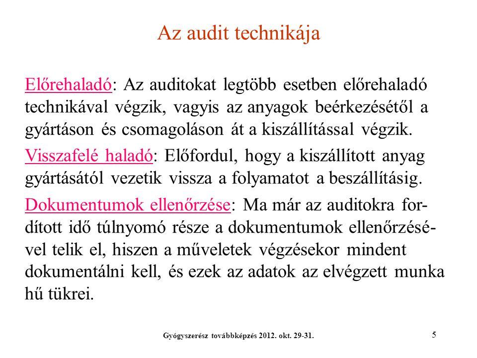 5 Az audit technikája Gyógyszerész továbbképzés 2012. okt. 29-31. Előrehaladó: Az auditokat legtöbb esetben előrehaladó technikával végzik, vagyis az