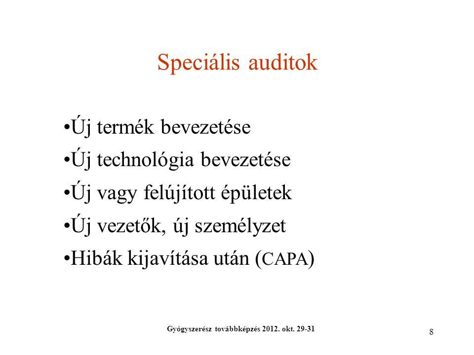8 Speciális auditok Gyógyszerész továbbképzés 2012. okt. 29-31 Új termék bevezetése Új technológia bevezetése Új vagy felújított épületek Új vezetők,