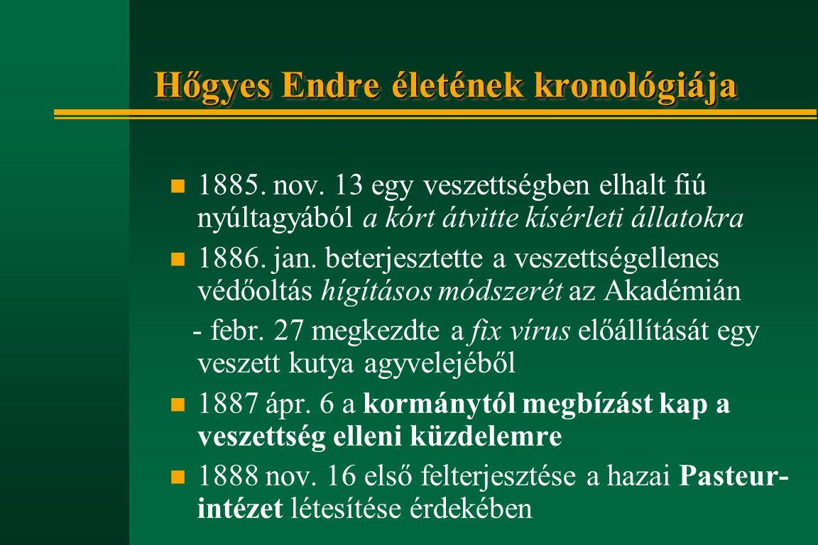 Hőgyes Endre életének kronológiája n 1885. nov. 13 egy veszettségben elhalt fiú nyúltagyából a kórt átvitte kísérleti állatokra n 1886. jan. beterjesz