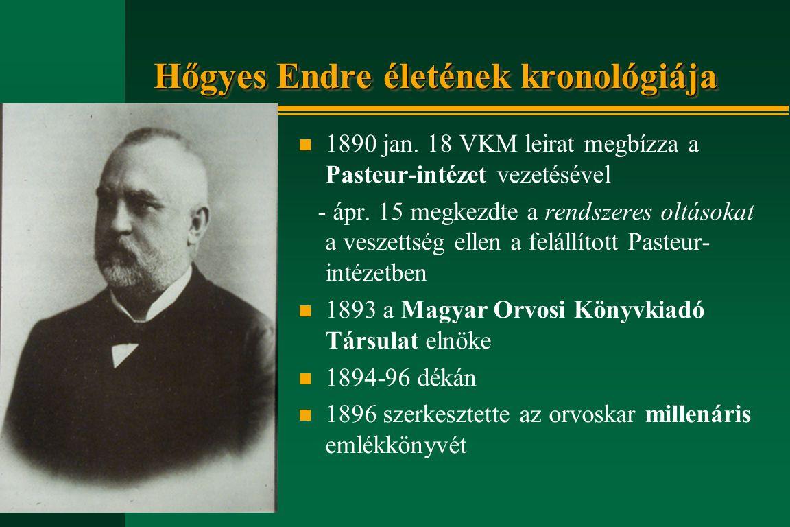 Hőgyes Endre életének kronológiája n 1890 jan. 18 VKM leirat megbízza a Pasteur-intézet vezetésével - ápr. 15 megkezdte a rendszeres oltásokat a vesze