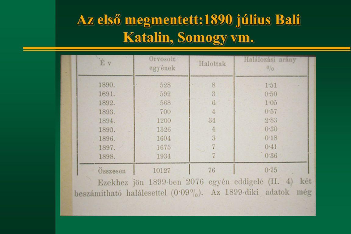 Az első megmentett:1890 július Bali Katalin, Somogy vm.