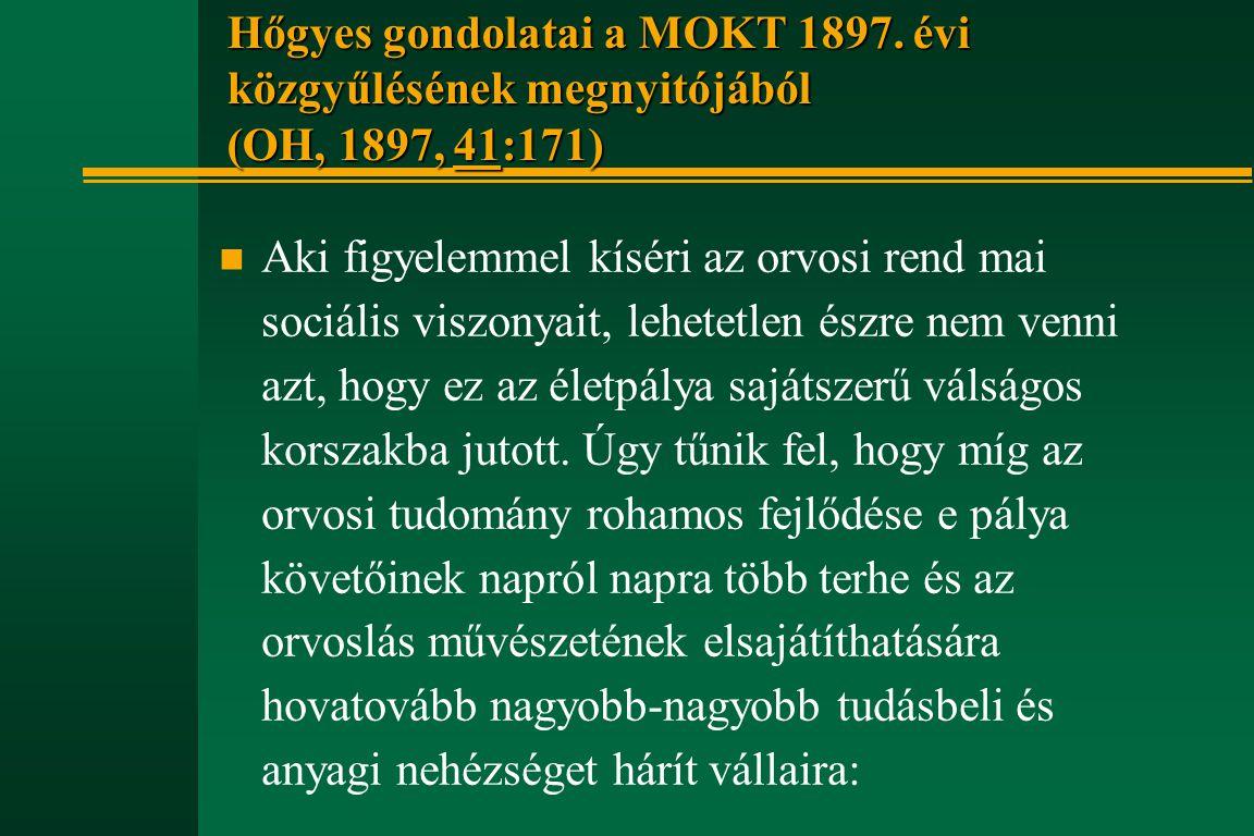 Hőgyes gondolatai a MOKT 1897. évi közgyűlésének megnyitójából (OH, 1897, 41:171) n Aki figyelemmel kíséri az orvosi rend mai sociális viszonyait, leh