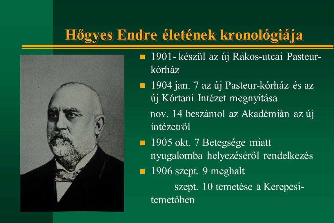 Hőgyes Endre életének kronológiája n 1901- készül az új Rákos-utcai Pasteur- kórház n 1904 jan. 7 az új Pasteur-kórház és az új Kórtani Intézet megnyi