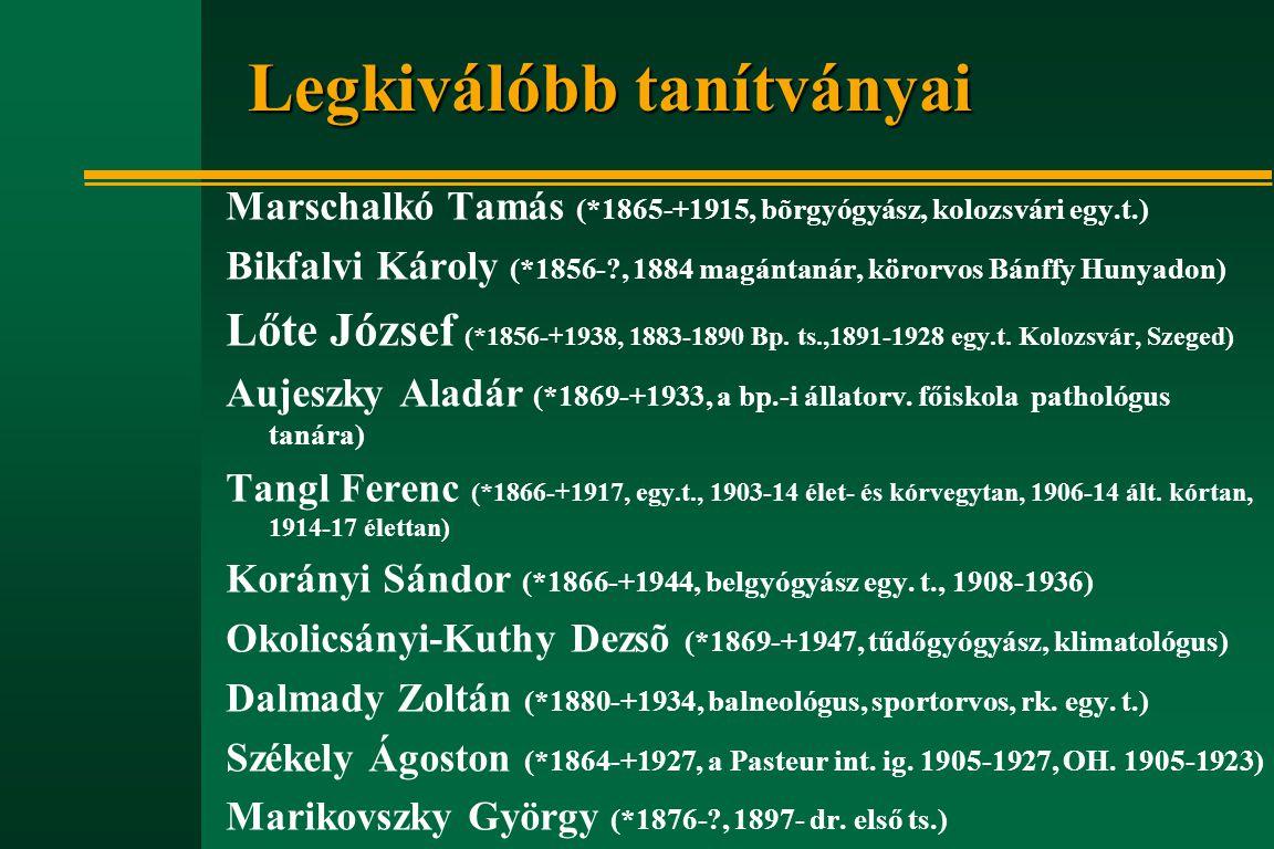 Legkiválóbb tanítványai Marschalkó Tamás (*1865-+1915, bõrgyógyász, kolozsvári egy.t.) Bikfalvi Károly (*1856-?, 1884 magántanár, körorvos Bánffy Huny