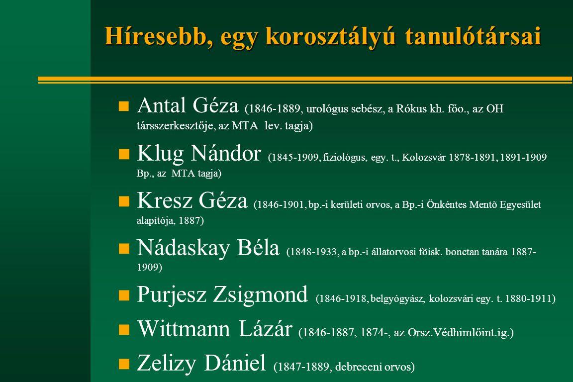 Hőgyes Endre életének kronológiája n 1885.nov.