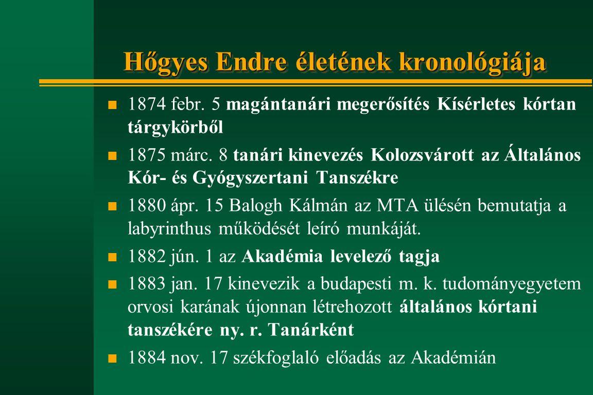 Hőgyes Endre életének kronológiája n 1874 febr. 5 magántanári megerősítés Kísérletes kórtan tárgykörből n 1875 márc. 8 tanári kinevezés Kolozsvárott a