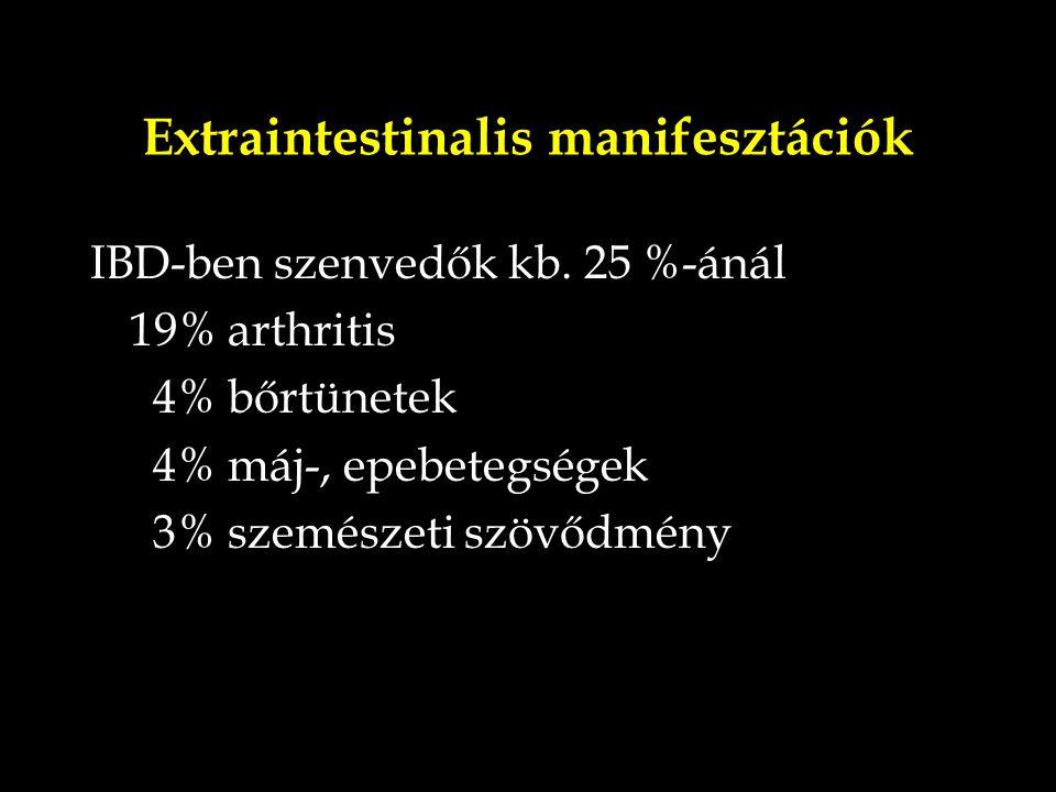 Extraintestinalis manifesztációk IBD-ben szenvedők kb. 25 %-ánál 19% arthritis 4% bőrtünetek 4% máj-, epebetegségek 3% szemészeti szövődmény