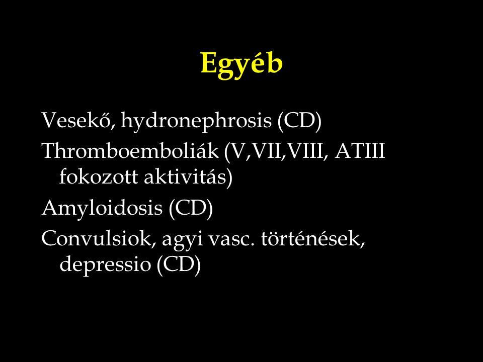 Egyéb Vesekő, hydronephrosis (CD) Thromboemboliák (V,VII,VIII, ATIII fokozott aktivitás) Amyloidosis (CD) Convulsiok, agyi vasc. történések, depressio