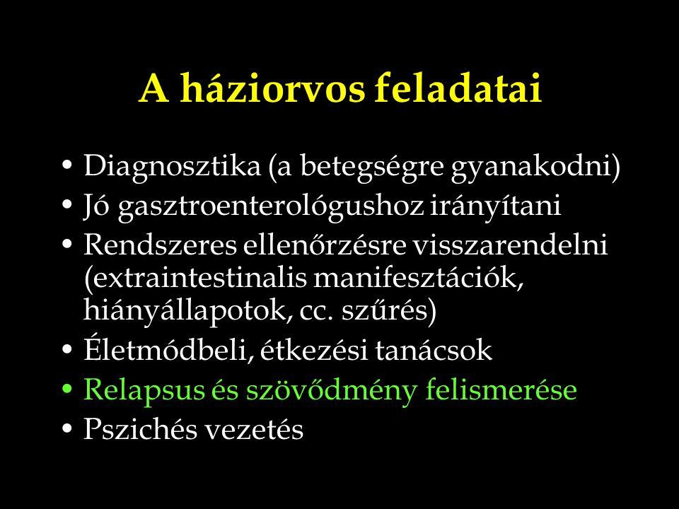 A háziorvos feladatai Diagnosztika (a betegségre gyanakodni) Jó gasztroenterológushoz irányítani Rendszeres ellenőrzésre visszarendelni (extraintestin