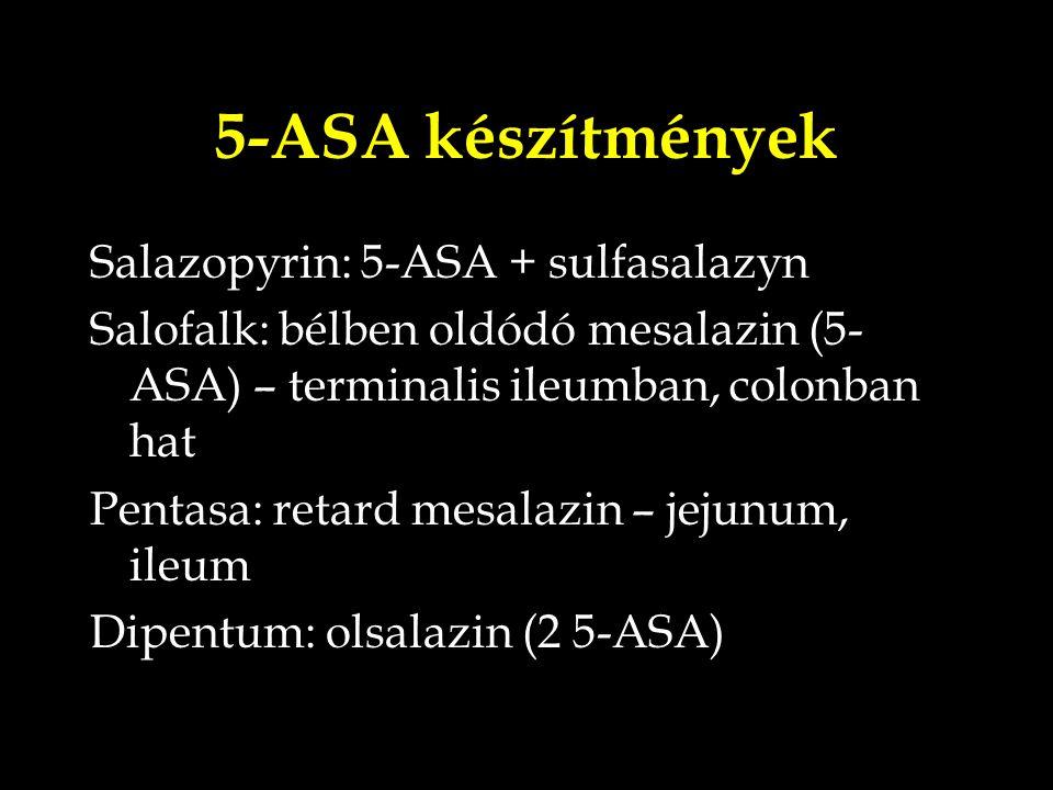 5-ASA készítmények Salazopyrin: 5-ASA + sulfasalazyn Salofalk: bélben oldódó mesalazin (5- ASA) – terminalis ileumban, colonban hat Pentasa: retard me