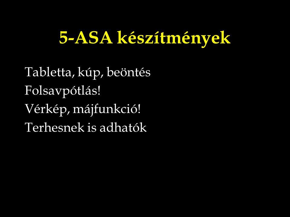5-ASA készítmények Tabletta, kúp, beöntés Folsavpótlás! Vérkép, májfunkció! Terhesnek is adhatók