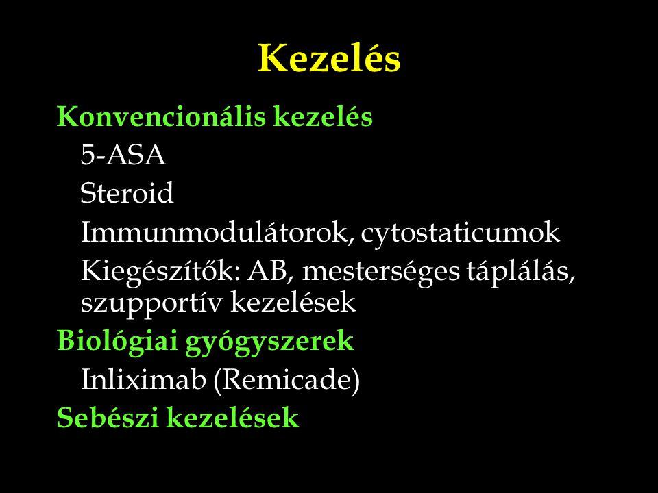 Kezelés Konvencionális kezelés 5-ASA Steroid Immunmodulátorok, cytostaticumok Kiegészítők: AB, mesterséges táplálás, szupportív kezelések Biológiai gy