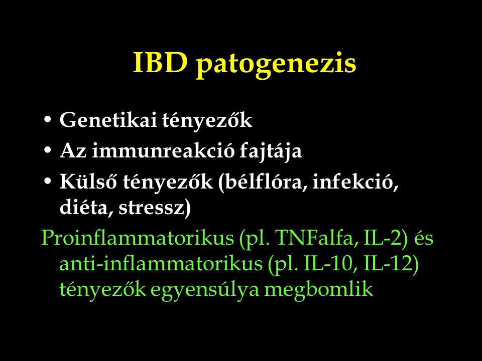 IBD patogenezis Genetikai tényezők Az immunreakció fajtája Külső tényezők (bélflóra, infekció, diéta, stressz) Proinflammatorikus (pl. TNFalfa, IL-2)