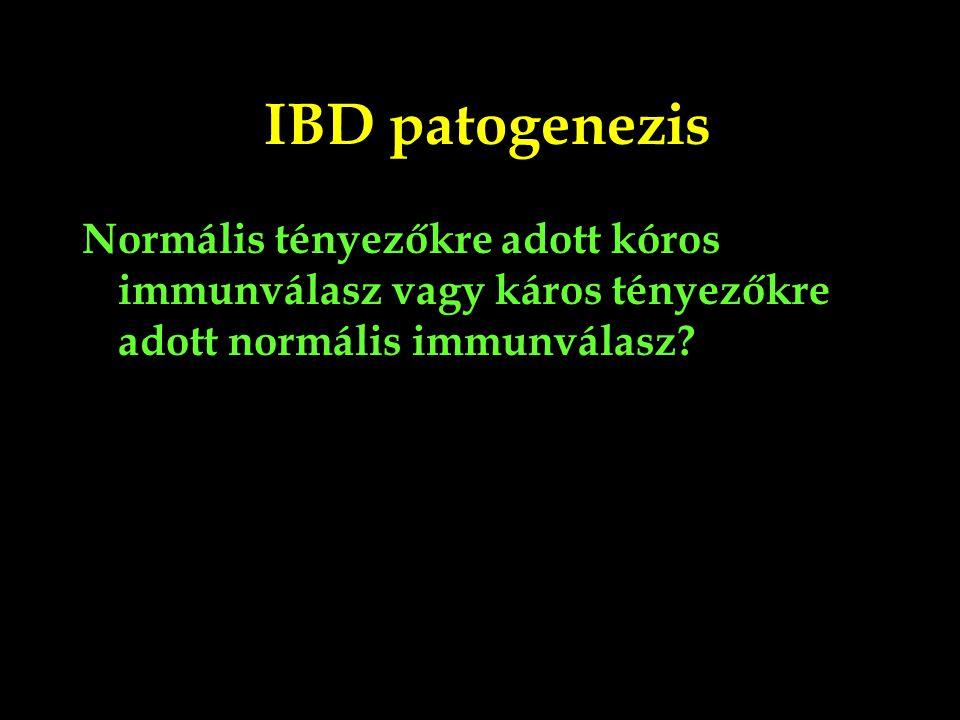 Crohn Colitis ulcerosa Transmuralis gyulladás a tápcsatorna bármely részén Szakaszos, mély laesiók Granulomák A dohányzás rontja Colon mucosa és submucosa krónikus gyulladása Folyamatos, felületes laesiok Crypta abscessusok Dohányoson ritkább