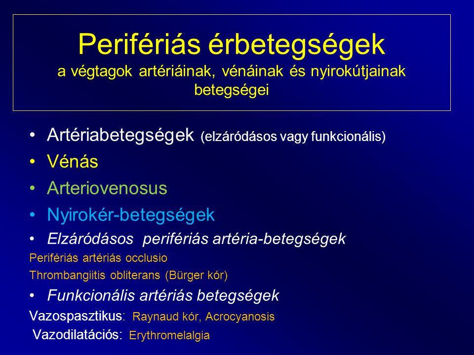 Perifériás érbetegségek a végtagok artériáinak, vénáinak és nyirokútjainak betegségei Artériabetegségek (elzáródásos vagy funkcionális) Vénás Arteriov